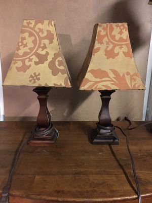 Pair of wooden lamps and shades for Sale in Newport News, VA