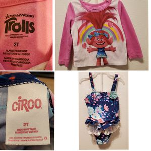 2t swimming suit and trolls top for Sale in Denver, CO