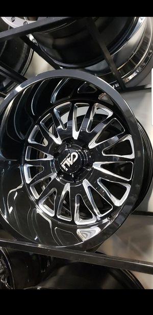 20x12 black Cali offroad rims 6 lug 6x139 whit New MUD tires 33 1250 20 lt for Sale in Phoenix, AZ