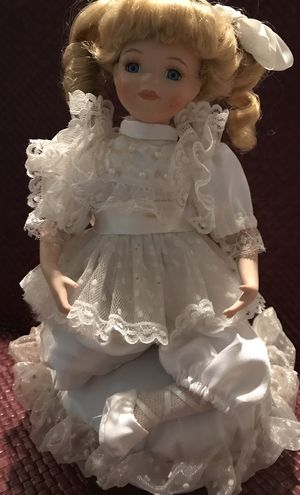 Wind-up musical porcelain and cloth doll for Sale in Silver Spring, MD