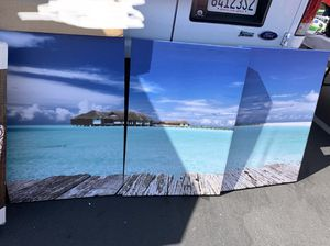 "3 Piece Canvas Wall Decor-Blue Sky, White clouds, Green Sea. Modern Home Decor Stretched band Framed Ready to Hang - 24""x36""x 3 panels wall decor. To for Sale in La Puente, CA"