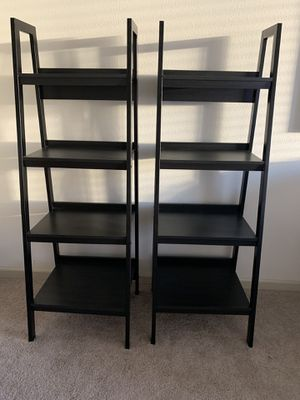 2 Black Ladder Bookshelves for Sale in Los Angeles, CA