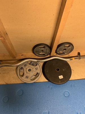 Arm curl bar and weights for Sale in Potomac, MD