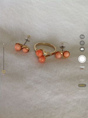 Coral ring and matching ear rings for Sale in Centreville, VA
