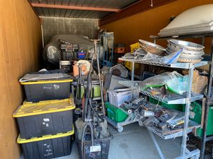 Two 30ft storage sheds full of tools, classic car parts, guns safes, Shelving cabinets shop equipment mop buckets drill presses Transmissions engines for Sale in Campbell, CA
