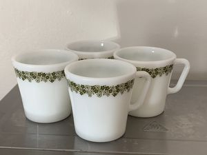 Pyrex Spring Blossom / Crazy Daisy milk glass mugs set of 4 vintage mid century for Sale in Milwaukee, WI