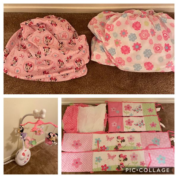 Disney crib, mattress, fisher Prince Mobile and bedding set