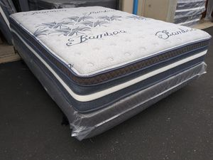 ♦Limited Edition Bamboo Siesta Europillow Top Queen Size Mattress and Boxspring♦ for Sale in Fresno, CA