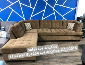 Waffle Truffle Suede L Shape Reversible Chaise Couch Sofa Sectional for Sale in Los Angeles, CA