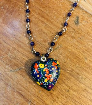 Floral heart pendant on purple rosary for Sale in Santa Ana, CA