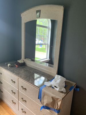 Dresser with Mirror and Matching Bed Frame for Sale in Dallas, TX