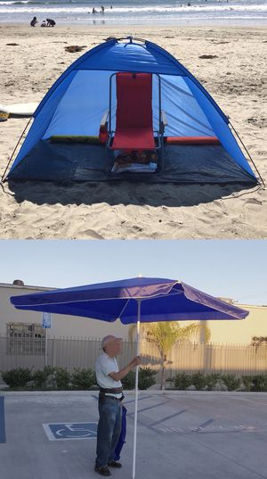 New 2 items for $40 7x3 feet beach tent sun shade and 6.5x6.5 feet beach umbrella with carrying bags for Sale in Los Angeles, CA