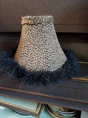 Leopard lamp shade with fur around the rim for Sale in Stockton, CA