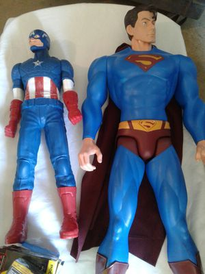 Pre-owned Captain America And Large Super Man Figures $40.00 for Sale in Powder Springs, GA