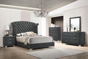 4PC QUEEN BEDROOM SET: QUEEN BED FRAME, DRESSER, MIRROR, NIGHTSTAND--FULL GREY VELVET for Sale in San Jose, CA