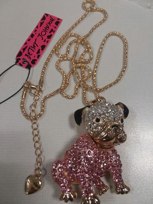 Beautiful PINK BULLDOG PENDANT NECKLACE With Rhinestones Crystals Movable Head on a Long Gold Color Chain by Betsey Johnson for Sale in The Bronx, NY
