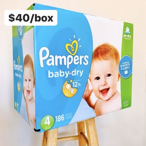 Size 4 (22-37 lbs) Pampers Baby Dry (186 baby diapers) *PROMO* BUY ANY 2 PAMPERS BRAND BOXES, GET 1 FREE HUGGIES TUB 64ct for Sale in Anaheim, CA
