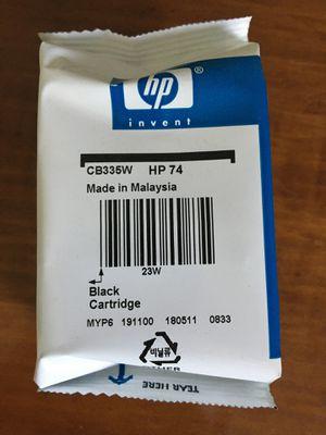 NIB HP 74 Black ink cartridge for Sale in Hinsdale, MA