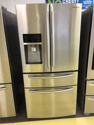 Samsung Stainless Steel 4 Door Refrigerador Scraches Dent With Warranty No Credit Needed Eveyone Is Approved for Sale in Garland, TX