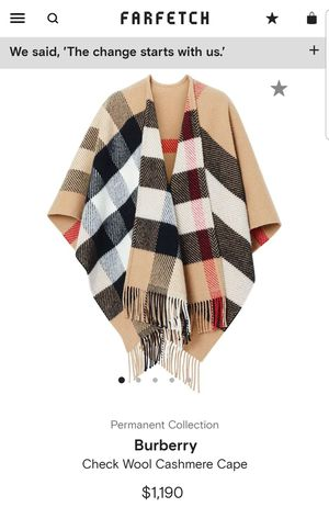 😍 Burberry - Check Wool Cashmere Cape -AUTHENTIC / 140×135 CM 🥰 for Sale in McLeansville, NC