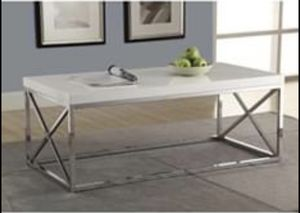 Modern Coffee Table in Glossy White with Chrome Metal Frame for Sale in Bowie, MD