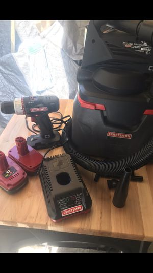 CRAFTSMAN C3 19.2 LITHIUM-ION BUNDLE DRILL 2 BATTERIES 🔋 CHARGER 🔌 & VAC/WET VACUUM GOOD CONDITION $85 for Sale in Los Angeles, CA