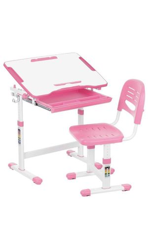 IKAYAA Height Adjustable Kid's Study Desk and Chair Set with Paper Roll Holder for Sale in Dearborn, MI