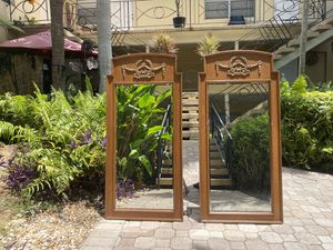 Antique original wood and brass mirror set for Sale in Fort Lauderdale, FL