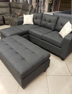 Brand New Grey Linen Sectional Sofa Couch + Ottoman for Sale in Wheaton, MD