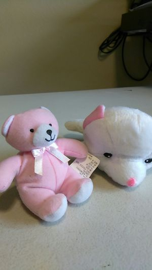 """(1) 4"""" TEDDY BEAR (1) 6"""" DOG, PINK & WHITE for Sale in Calexico, CA"""