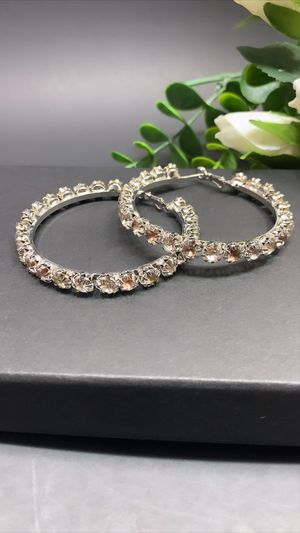 925 Sterling Silver Post 5.5cm Big Circle Shiny Crystal Hoop Earrings, Silver Color for Sale in Los Angeles, CA