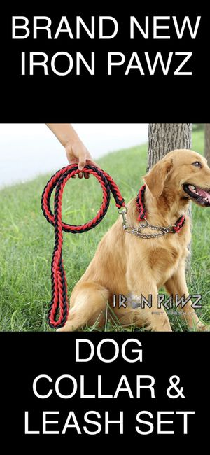 Iron Pawz Heavy Duty Professional Training Dog Leash and Collar Set Red and Black for Sale in Avondale, AZ