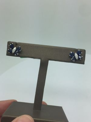Earrings diamonds and sapphires 14k for Sale in Miami, FL