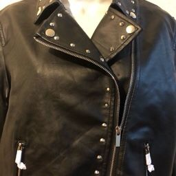Numero Brand Womens Stylish Black Leather Jacket Size L for Sale in Las Vegas, NV
