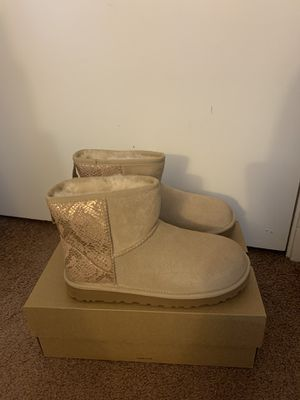100% Authentic Brand New in Box UGG Classic Mini Snake Boots / Color: Gold / Women size 5, 6, 7, 8, 9, 11 for Sale in Pleasant Hill, CA