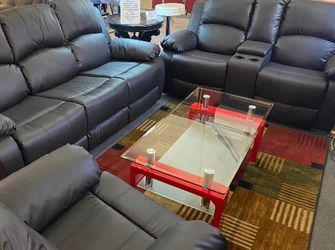 SPECIAL DEAL‼️ 3pcs Black Manual Recliner's (Sofa- Loveseat- Recliner)‼️ SAME DAY DELIVERY‼️No credit check‼️ for Sale in Las Vegas,  NV