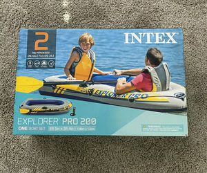 Intex Explorer 200 Inflatable 2 Person River Boat Raft Set with 2 Oars & Pump for Sale in Houston, TX