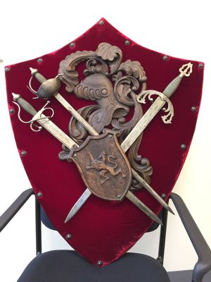 Vintage Medieval Coat of Arms and Steel Sword Set for Sale in Fairfax, VA