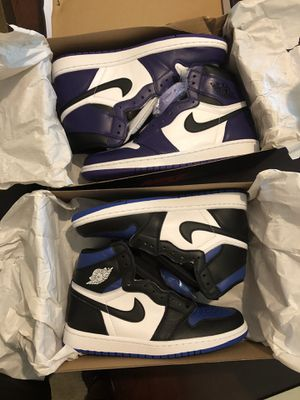 Air jordan 1 royal toe and court purple for Sale in Lawrenceville, GA