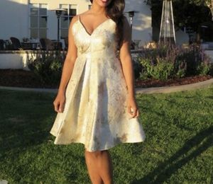Cocktail Flare Dress GOLD Floral Size 10 - BEST SUMMER WEDDING GUEST for Sale in San Francisco, CA