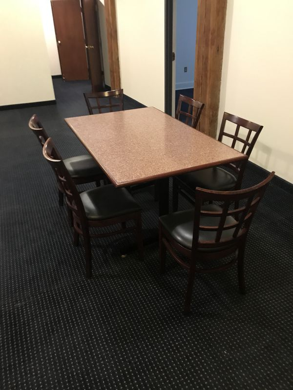 """Kitchen dining table with six chairs. Table Top is 60"""" L x 36"""" W x 30"""" H"""