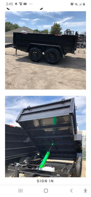 8 ft X 10 ft X 2ft 14,000 lbs capacity heavy H/D dump trailer for Sale in Oceanside, CA