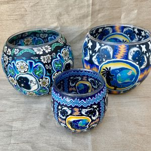 Handmade glass candle holders NEW for Sale in Rosamond, CA