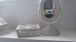 Wicker tissue box holder and wicker mirror set for Sale in Woburn, MA