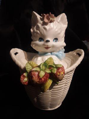 1950s KITSCH LEFTON KITTY CAT JAM JAR w/SPOONED LID Japanese Porcelain Handpainted for Sale in Lakewood, WA