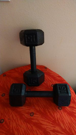 Dumbbell weights 15pounds each weight for Sale in Spring Hill, FL