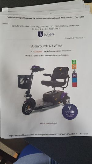 Buzz Around EX 3 wheel scooter for Sale in Ocean Pines, MD
