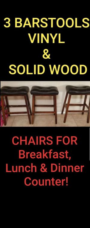 3 Barstools / Dining Chairs 2.5 ft tall (Wood Frame / Dark Brown Vinyl Cushion Top Seats) for Sale in Vista, CA