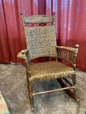 Gorgeous large wood and Rattan Rocking Chair for Sale in Bountiful, UT