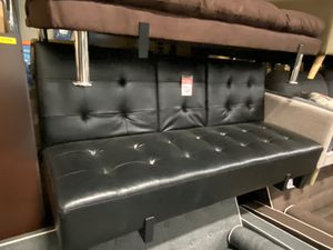 Faux Leather Sofa Bed / Futon with Cupholders, Black for Sale in Downey, CA